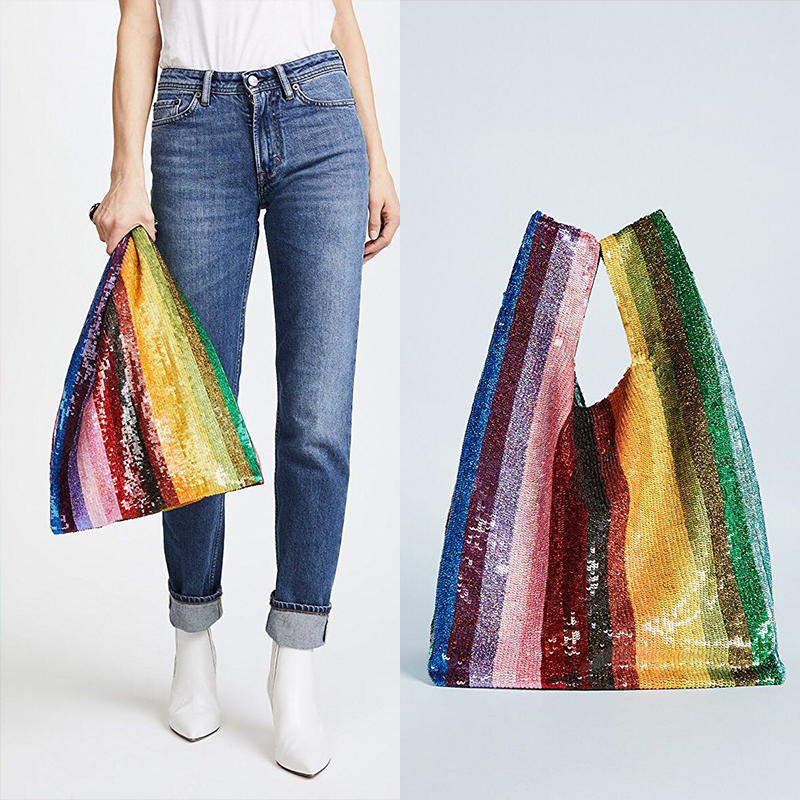 AUTEUIL 2018 Rainbow Casual Totes Women Sequin Grocery Bag New Arrival Top Handle Bags Ladies Fashion