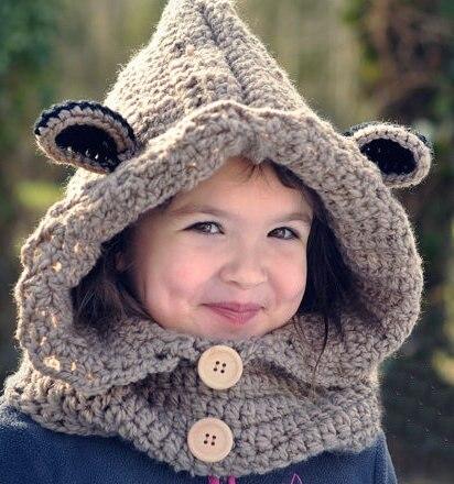 Baby Crochet Bear Cowl Handmade Chunky Hooded Cowl Infinity Scarf