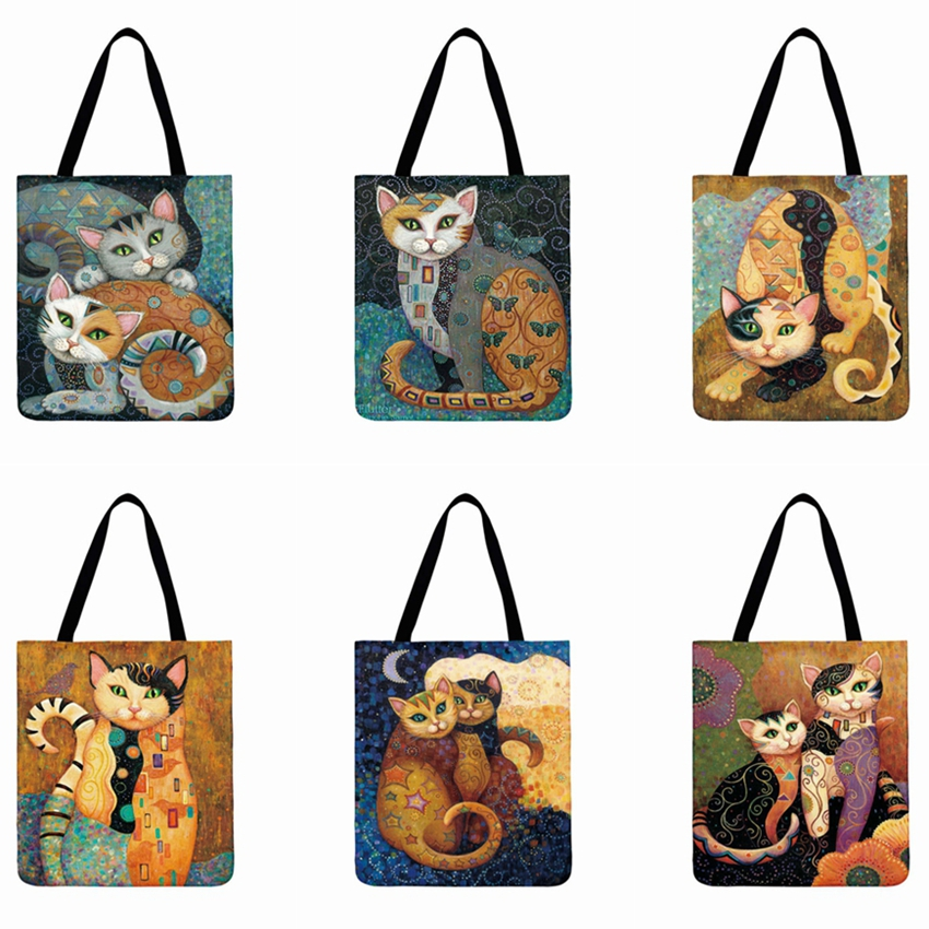 Cartoon Cat 3D Printed Tote Bag Ladies Shoulder Bag Foldable Casual Shopping Bag Outoor Beach Bag Daily Women Hand Bag