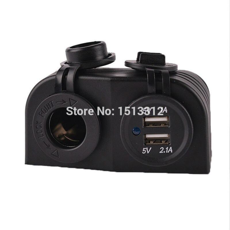12-24 V DIY Étanche Moto Double USB Port Chargeur 3.1A Adaptateur w/Allume-cigare Prise D'alimentation (12 ~ 24 V)