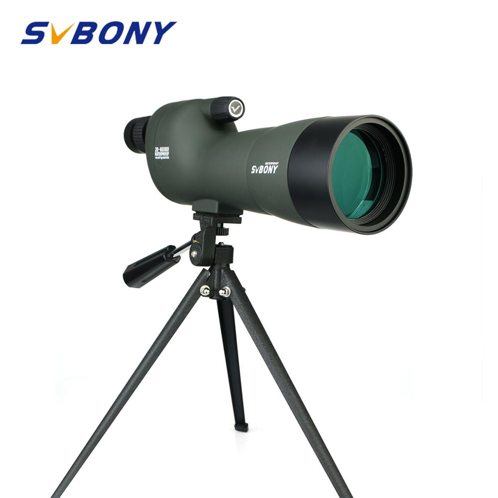 SV28 Spotting Scope 20-60x60 Straight 180 Degree Zoom Telescope Waterproof For Hunting Birdwatch W/Soft Carry Case+Tripod F9308E