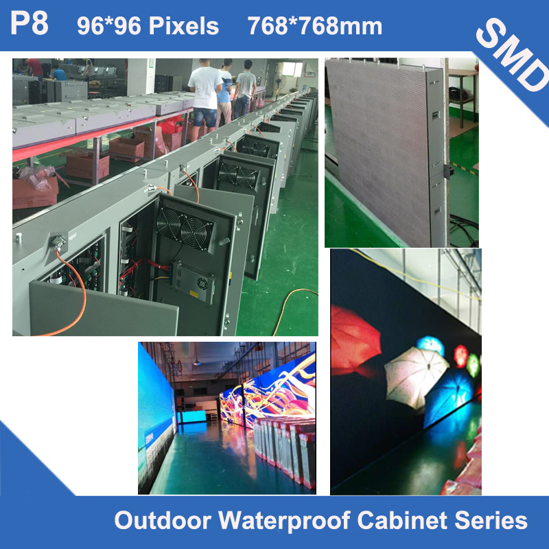 TEEHO CE Passed P8 Outdoor SMD3535 Full Color led video 768*768mm 96*96dots waterproof Cabinet for LED display screen videowallTEEHO CE Passed P8 Outdoor SMD3535 Full Color led video 768*768mm 96*96dots waterproof Cabinet for LED display screen videowall