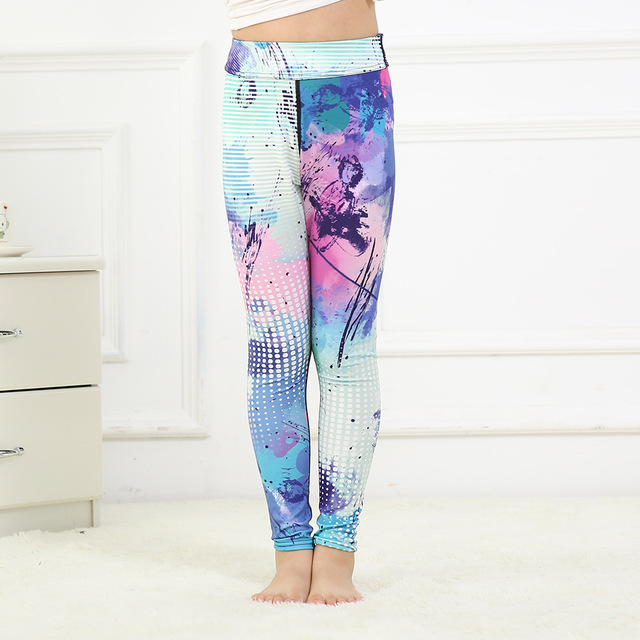 af97cff31b Matching Child leggings Abstract watercolor dots pink blue purple girls  sports fitnese workout leggings yoga pants