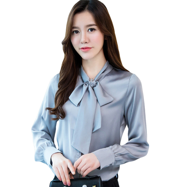 e323afba416 Plus Size 2018 Spring Long Sleeve Bow Tie Satin Shirts Women Work Wear  Office Blouses Ladies Casual Faux Silk Shirt Tops CM2602