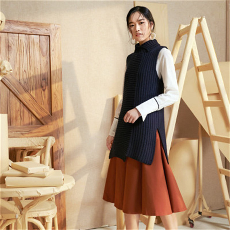 New Fashion 100%hand Made Pure Wool Turn-down Collar Knit Women Streetwear Solid Open Hem Loose Vest Sweater One&over Size