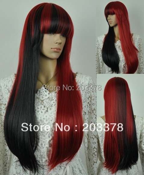2013 New Long Straight  Black and Red cosplay hair Wigs10pcs/lot mix order