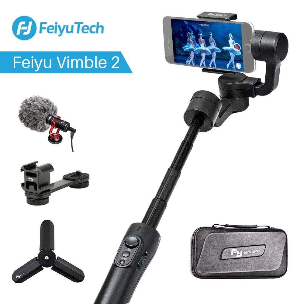 Feiyu Vimble 2 extensible de mano teléfono Gopro cardán vídeo estabilizador para iPhone 7X8 Gopro héroe 6 Xiaomi Yi Samsung S8