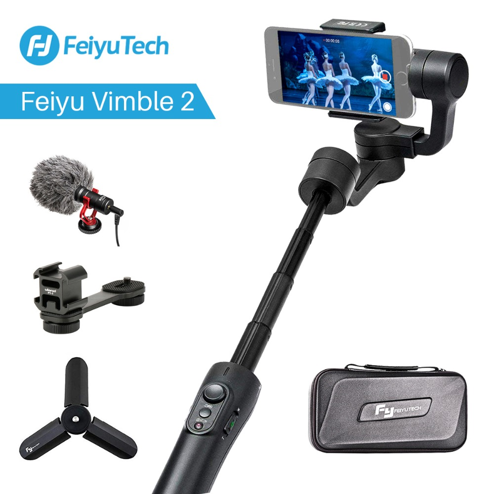 Feiyu vimble 2 Выдвижная Ручной телефон Gopro Gimbal видео стабилизатор для iPhone X 8 7 Gopro Hero 6 Xiaomi Yi samsung S8