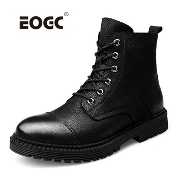 Vintage Style Boots Men Natural Leather Autumn Winter Boots WaterProof Ankle Boots Shoes Men Handmade Super Warm Men Shoes haraval handmade winter woman long boots luxury flock round toe soft heel shoes elegant casual warm retro buckle solid boots 289