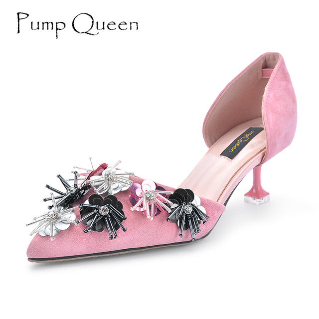 40e72fef5d6 US $54.98 |3D Flower Pink Wedding Heels Black Heels 2018 Spring Shoes Woman  Special Party Heels Women Pumps Ladies Shoes 5 CM Large Size 40-in Women's  ...
