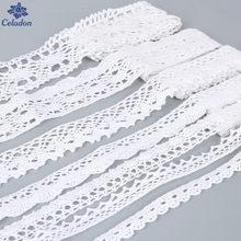 Tessuto Abbigliamento da cucire 5 Yards Colore Bianco Crochet di Lavoro A Maglia di Cotone Lace Trim Tessuto Accessori Fatti A Mano Del Nastro Del Mestiere