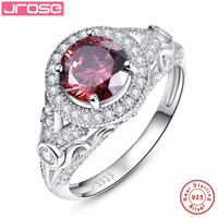 Wedding Engagement Jewelry Solid 925 Sterling Silver Spessartine Garnet Ring 2.75 Carat Round Shape Charms Fashion for Women