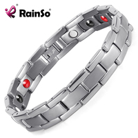 Rainso New Energy Health Bracelets Bangles Men Titanium Silver Plated 4 Elements Magnetic Bracelet High Quality