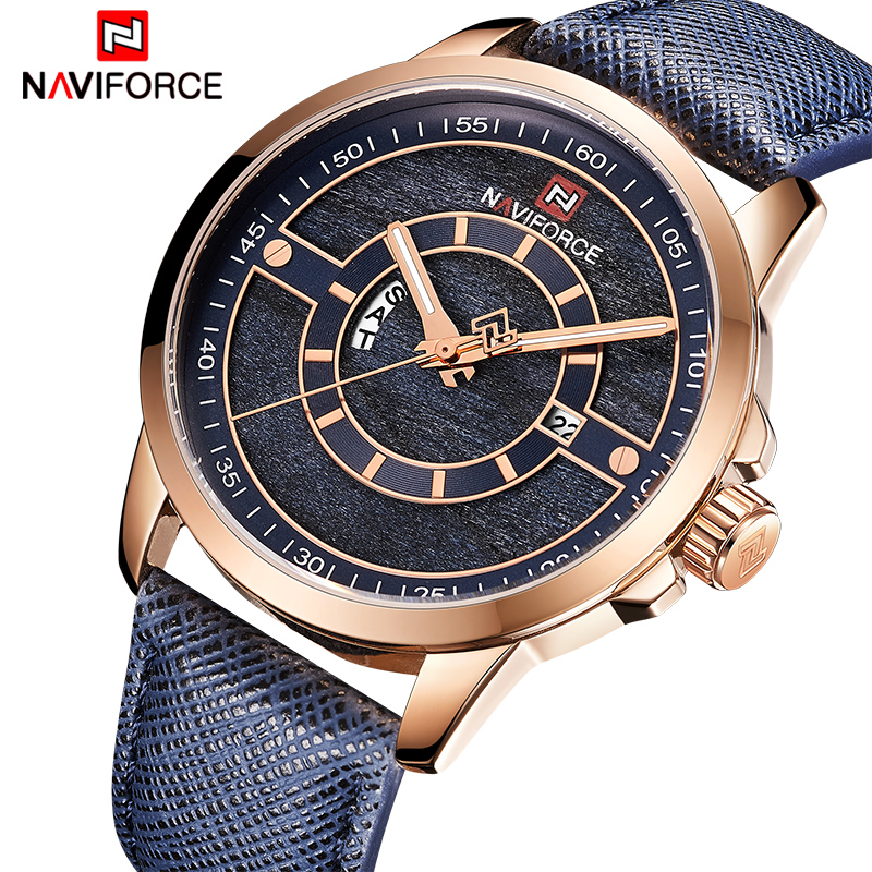 Mens Watches NAVIFORCE NEW Top Luxury Brand Men Quartz Date Clock Man Leather Fashion Casual Sports Waterproof Wrist Watch