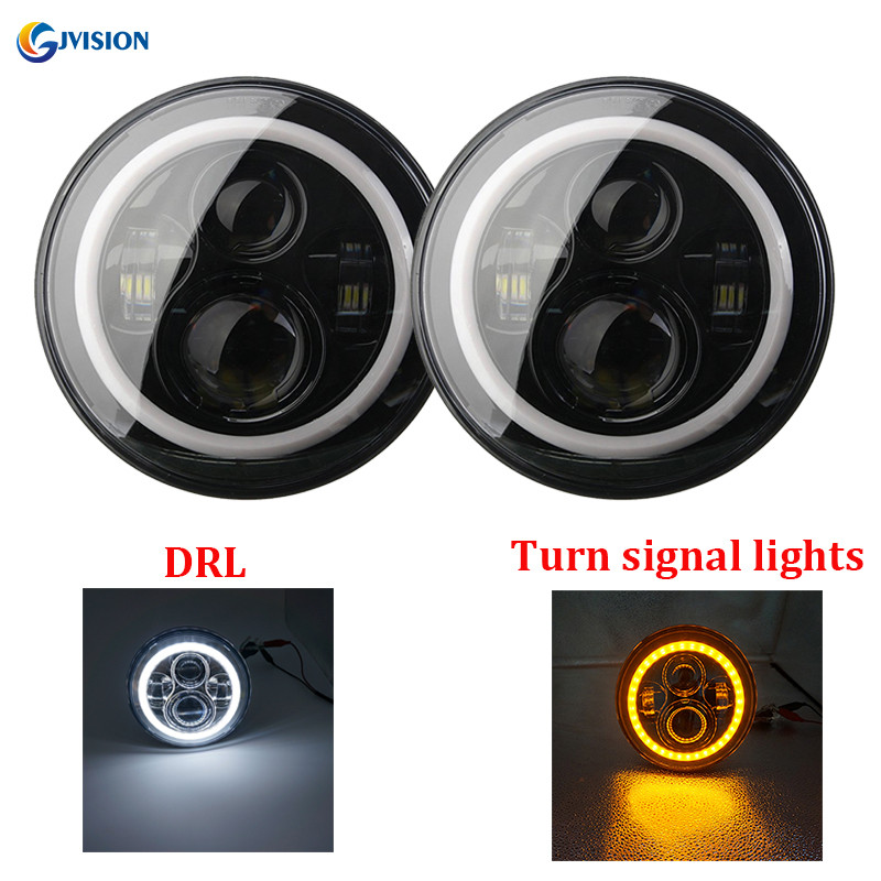 2PCS 7 inch 40W LED Car lights White Daytime running lights Amber turn signals for Jeep Wrangler Lada Niva 4x4 Suzuki Samurai yait 2pcs 7 inch auto led headlight for jeep wrangler with white drl amber turn signal lamps for lada 4x4 urban niva uaz hunter