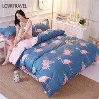 100% Algodão Conjunto de Cama Quilt Cover Tiwn Flamingo Rainha Completa Lençóis King Size Conjunto de Cama Casa Crianças Flor Rosa Verde 4 pcs