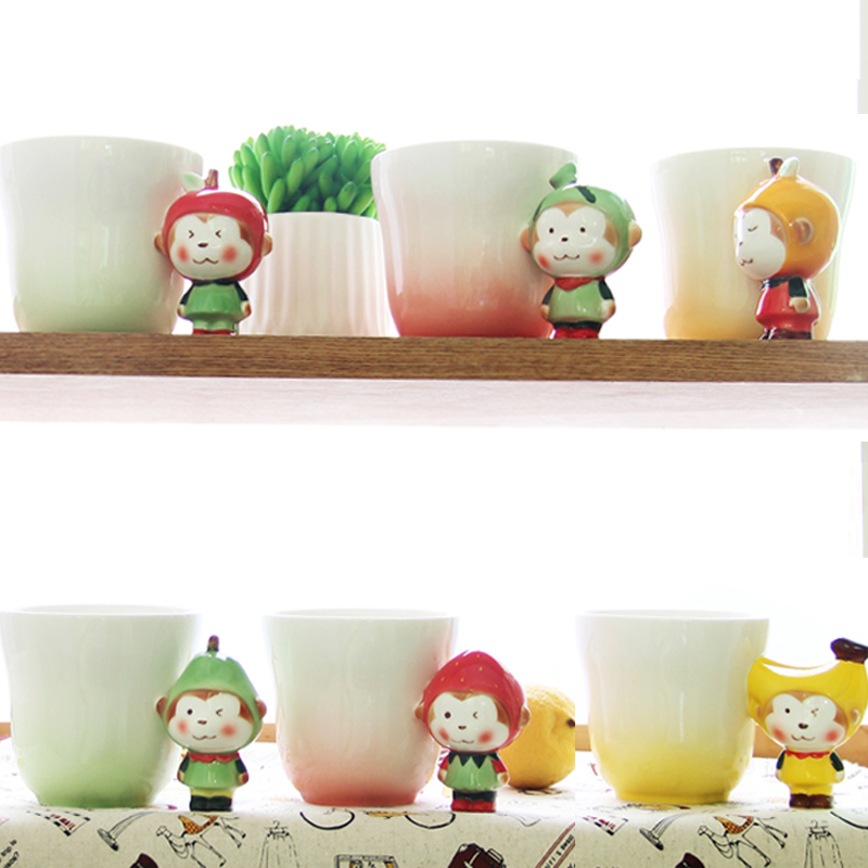 2016 New Funny Creative Ceramic Pet Mug Toy Milk Coffee Cups Novelty Monkey Fruit Handle Unique Christmas Kid Children Gift