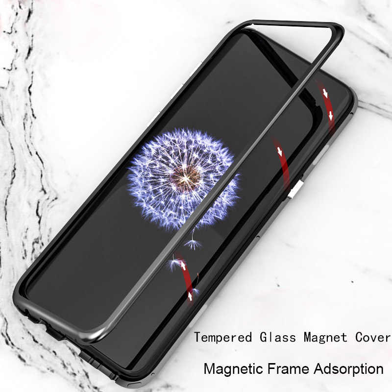 Case For Samsung Note9 S9 Plus S8 Plus Capa Magnetic Adsorption Metal Aluminum Frame Case For Samsung Note 8 S7 Edge Glass Cover