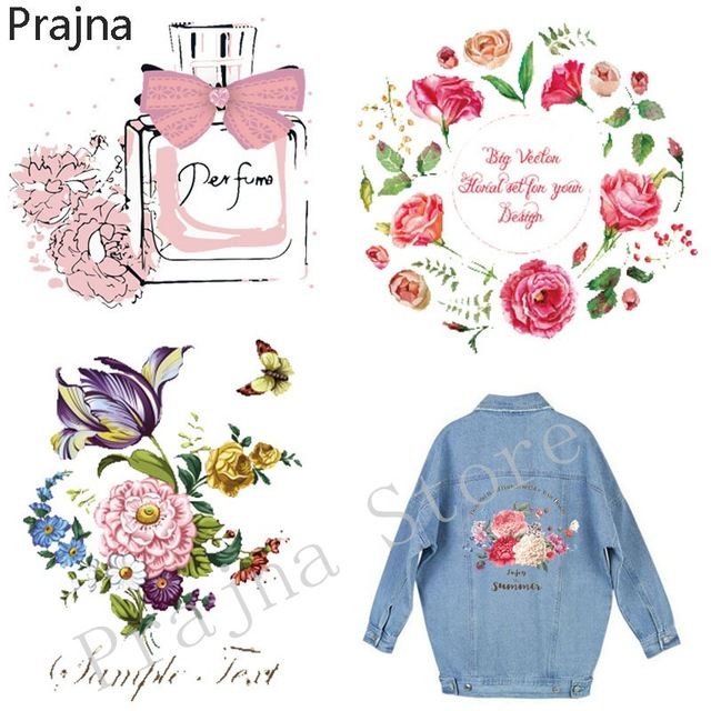 Prajna custom iron on transfers for clothing fabric hot vinyl heat transfer patches stickers for jeans