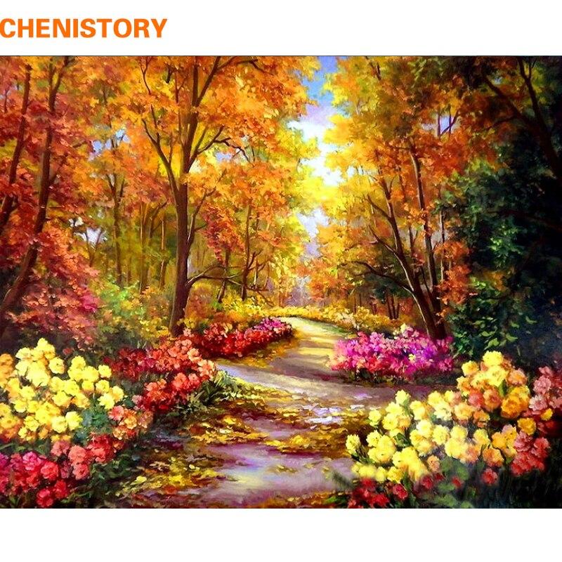 Chenistory outono floresta diy pintura por números paisagem digital caligrafia pintura moderna arte da parede para decoração de casa 40x50cm