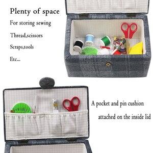 Image 4 - Buy One Get ücretsiz dikiş araçları dikiş saklama kutusu ahşap ve kumaş kaplı el sanatları dikiş kitleri organizatör noel hediyesi kutusu anne