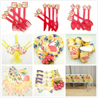 72/PCSHawaiian Luau Party Tableware Kits Cups Plate Staw Flamingo Banner Birthday Party Decoration Kids Flamingo Party Supplies