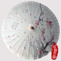 Butterfly Birds Paper Umbrella Retro Pink Flower Blossom Chinese Handmade Oil Paper Umbrella Bamboo Cosplay Parasol