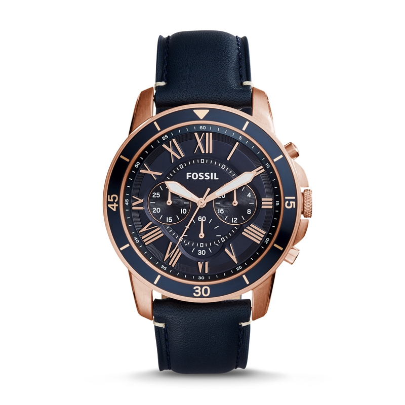FOSSIL Mens Grant Sport Quartz Stainless Steel and Leather Dress Watch Color FS5237