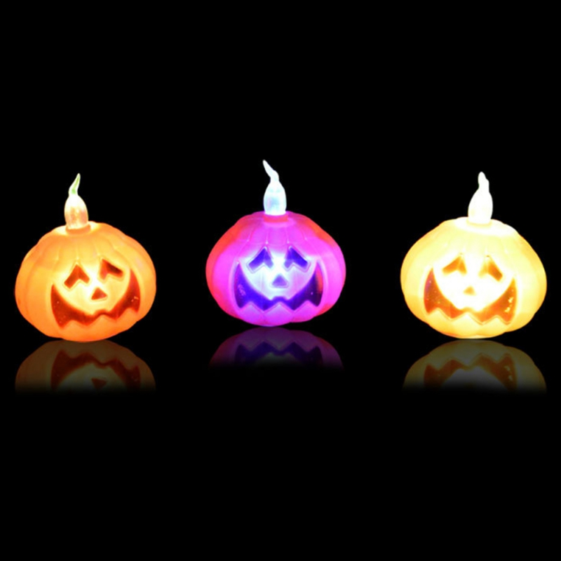 12PCS Lights Halloween Color Glowing Pumpkin Halloween Decoration Props Glow Party Supplies
