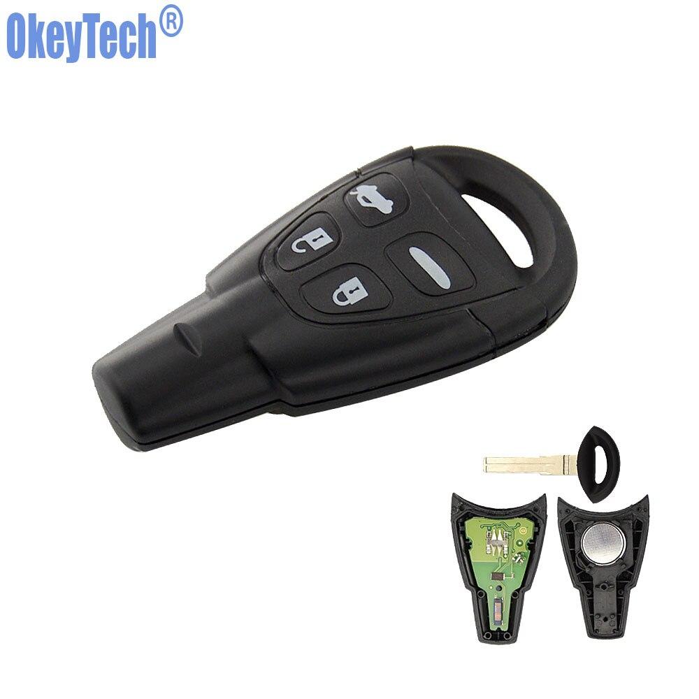 OkeyTech 433 MHz ID46 PCF7946 Puce 4 Boutons Voiture Clé À Distance Intelligente Fob pour SAAB 93 9-3 2003 2004 2005 2006 2007 2008 2009 2010 2011