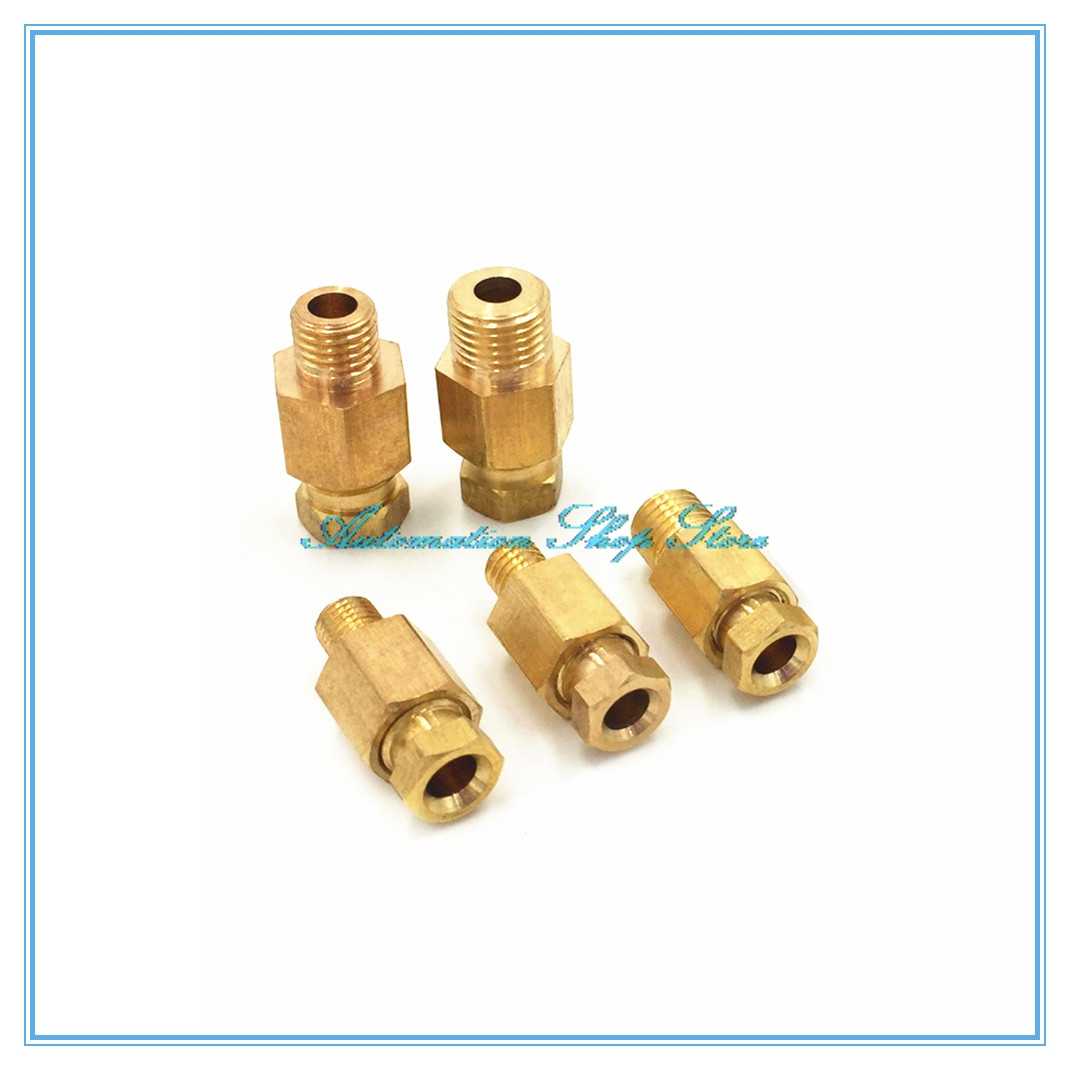 Compression Ferrule Tube Compression Fitting 4 6 8mm OD Tube Connector Machine Tool Lubrication Brass Oil Pipe Fitting