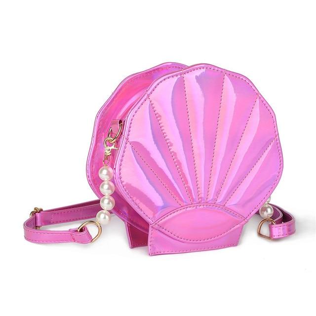 2017 Прекрасный Лазерная Лолита Сумки Sea Shell Форма Дизайн Женщин Сумка Кожа PU Девушки Смешно Лоскут Messenger Кроссбоди Мешок Q005