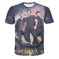 Summer Famous Tv Play Supernatural 3D Print T Shirt Cotton Winchester T-Shirt Man Top Tee Casual Man Short Sleeve Plus Size