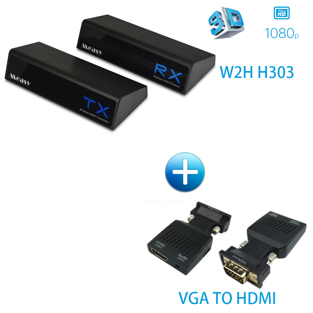 MEASY W2H H303 60GHz Wireless Video Transmission System Transmitter & Receiver No delay (W2H H303 + VGA TO HDMI) aputure array trans high definition wireless video transmitter 60ghz support 1080p wireless transmitter receiver set