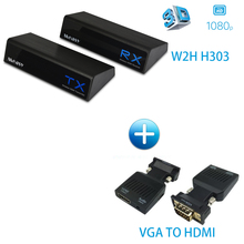 MEASY W2H H303 60GHz Wireless Video Transmission System Transmitter & Receiver No delay (W2H H303 + VGA TO HDMI)