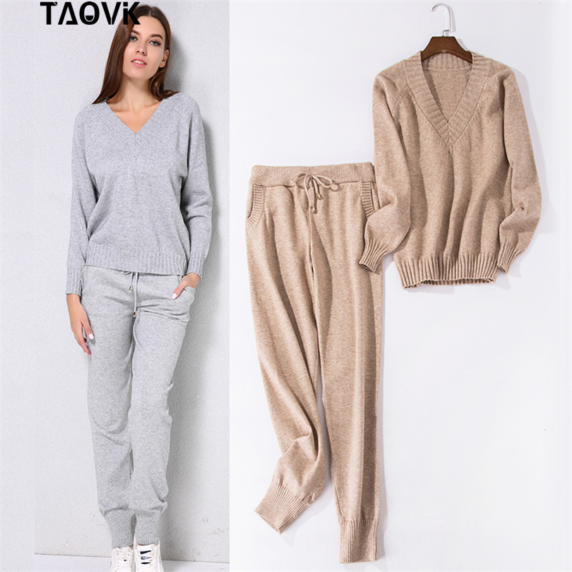 TAOVK Soft Winter Knitted Suit Women's Sets Streetwear V-neck Sweaters Elastic Band Pants Two Piece Set 2 Piece Set House Suit