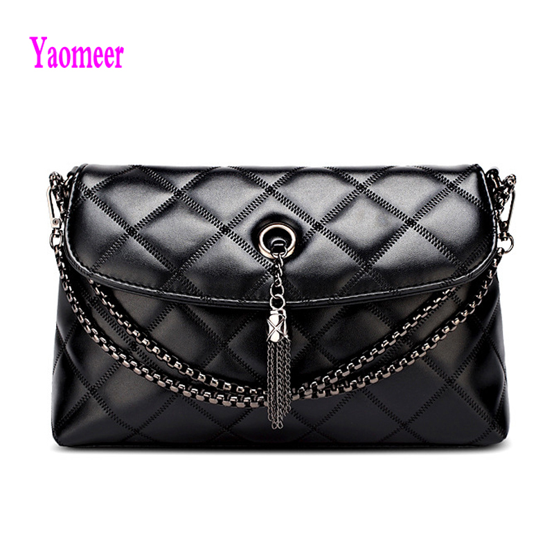 Famous Designer Brand Women Diamond Lattice Handbag Pu Leather Plaid Thread Black Crossbody Shoulder Bags Chain Tassel Sac a91