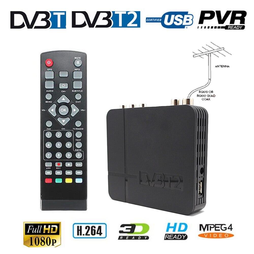 H.264 MPEG-4 K3 DVB-T2 Receiver Digital TV Video Broadcasting Terrestrial Receiver 1080P Set Top Box for HDTV + UHF VHF Antenna
