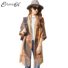 Cloak shawl Long Knitted Cardigan Sweater Coats Women Autumn 2017 Hot New Jacket Top Clothes Loose Outerwear abrigos mujer LH269(China)