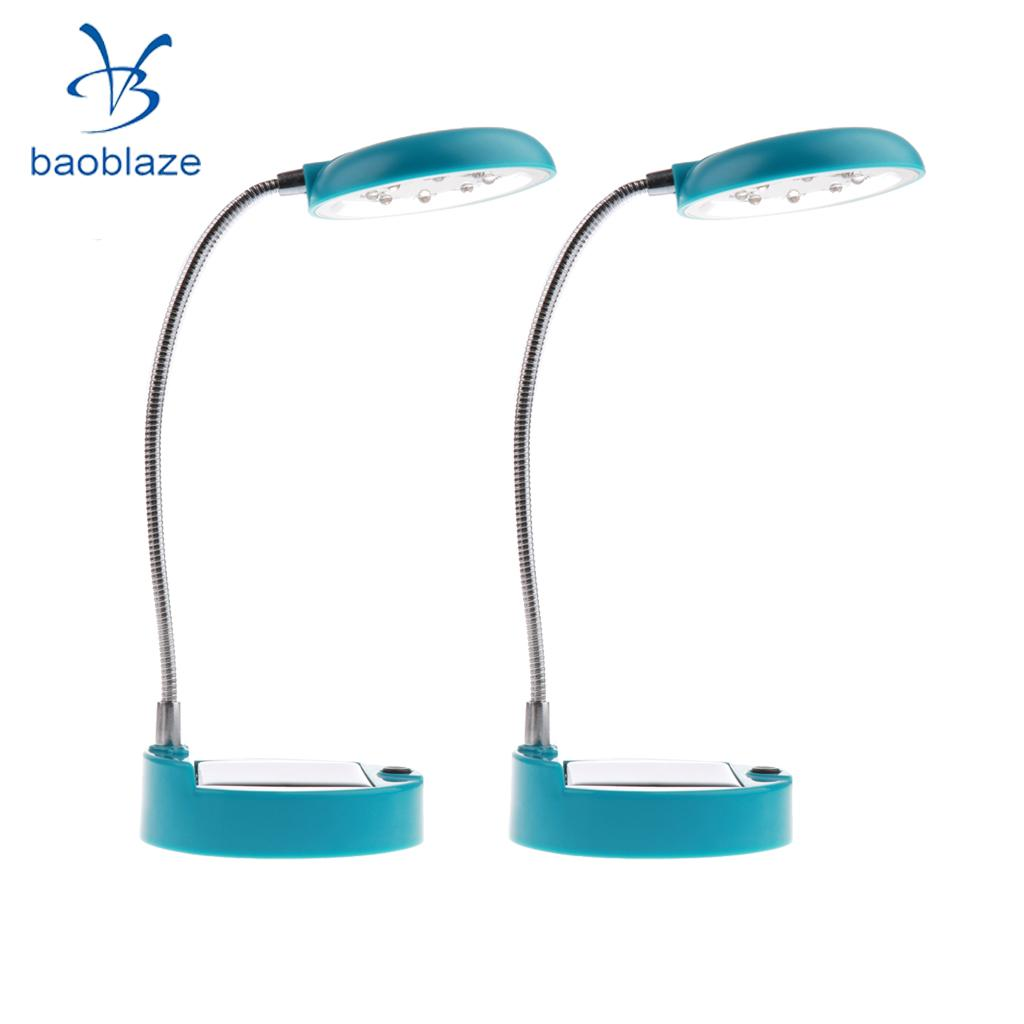 2 Pieces Flexible Gooseneck Style 8 LED Table Lamp Solar / USB Charger Blue аксессуар для концертного оборудования soundcraft лампа для подсветки микшерного пульта gooseneck lamp 18
