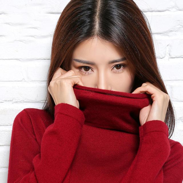 Camisola da caxemira das mulheres e blusas pulôveres de Gola Alta de lã pullover moda sexy Topos pullover luva cheia de roupas venda Quente
