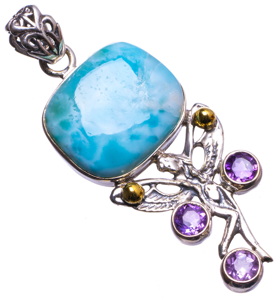 Natural Caribbean Larimar and Amethyst Handmade Unique 925 Sterling Silver Pendant 2 X1415