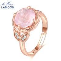 LAMOONปรับแหวนแต่งงานใบ100%ธรรมชาติพลอยโรสควอตซ์925