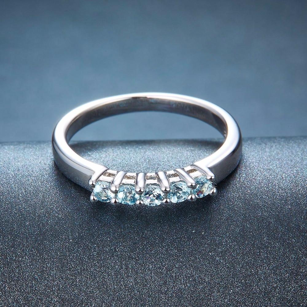 Hutang Bryllup Ringe Fem Sten Naturlig Aquamarine Solid 925 Sterling - Smykker - Foto 2