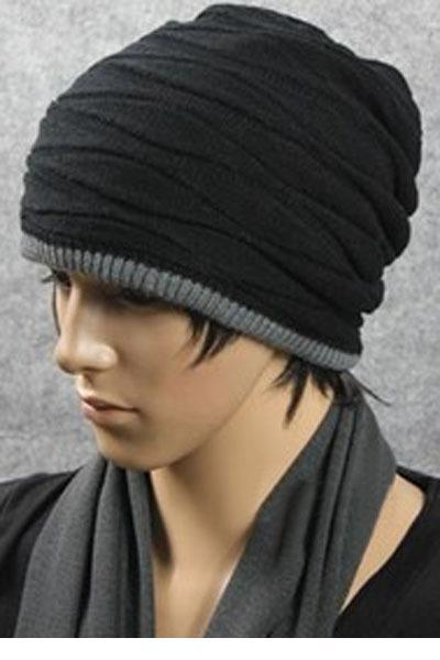 New 2015 Men Hats Korean Style Winter Double Thick Wool Knitted Hat
