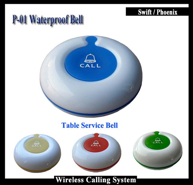 2016 nueva prueba de agua botón de llamada 20 unids para restaurante wireless sistema de campana de la tabla