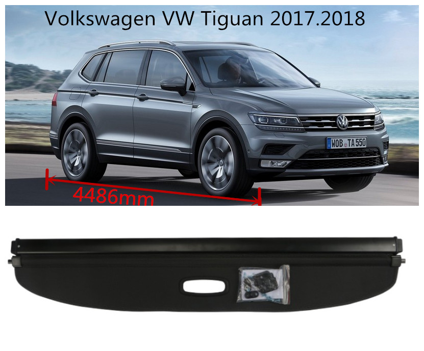 For Volkswagen VW Tiguan 2017 2018 Rear Trunk Security Shield Cargo Cover High Qualit Auto Accessories Black / Beige for volkswagen vw touran 2016 2017 2018 rear trunk security shield cargo cover high qualit auto accessories black beige grey