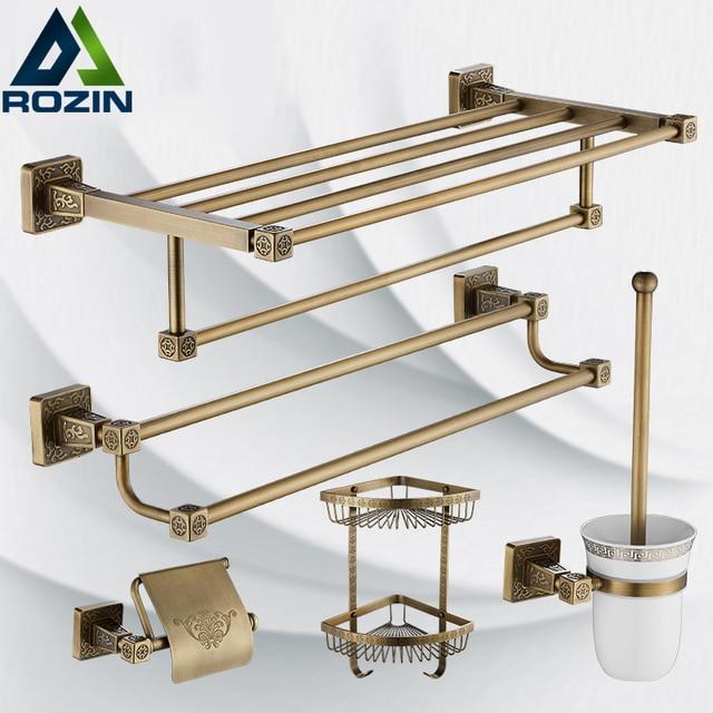 Antique Brass Bathroom Hardware Set Robe Hook,Paper Holder,Towel Bar,Bathroom  Set