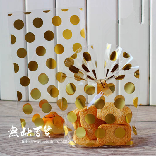 100pcs Gold Foil Polka Dot Open Top Cellophane Bags Cookie Bags Wedding Candy Bags Gift Opp Bags Food Packing Party Favors