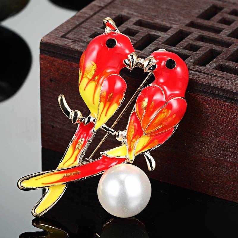 Harga murah Enamel Burung Jilbab Aksesoris Lucu Bros Jilbab Pin Up Logam Korsase Pengantin Desainer Syal Bahu Dresses